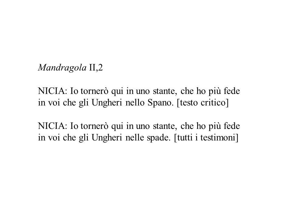 Mandragola II,2 NICIA: Io tornerò qui in uno stante, che ho più fede. in voi che gli Ungheri nello Spano. [testo critico]
